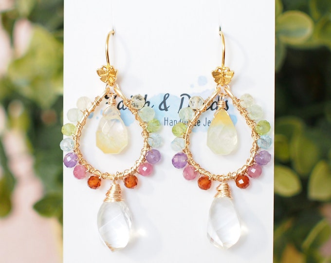 Featured listing image: Rainbow Gems Earrings // Natural Rock Crystal // Statement Earrings // Wirewrapped // One of a kind // 14K gold-filled