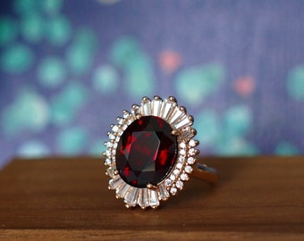 Garnet Ring // Halo Setting // Cocktail Ring // Cubic Zirconia // 18K Rose Gold Plated Over Silver