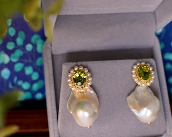 Peridot Earrings // Halo Setting // Detachable Baroque Pearl Dangles // Fresh Water Pearls // 18K Yellow Gold Plated Over Silver