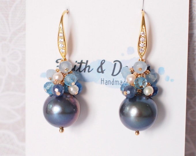 Featured listing image: Tahitian Pearl Earrings // Natural Peacock Green // Blue Stones x Pearls Cluster// 14K Gold-filled // Sweet and Elegant
