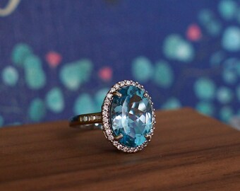 Topaz Ring // Halo Setting // Cocktail Ring // Cubic Zirconia // 18K White Gold Plated Over Silver