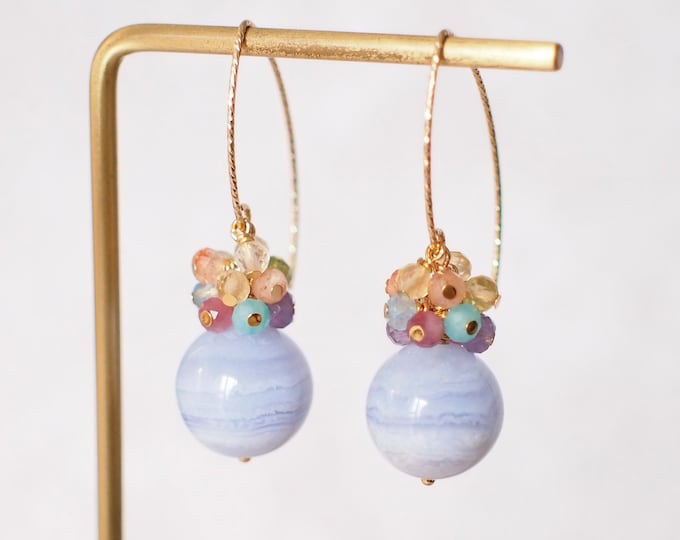 Featured listing image: Blue Lace Agate Earrings // Rainbow Gems Cluster// Statement Earrings // 14K Gold-filled // One of kind