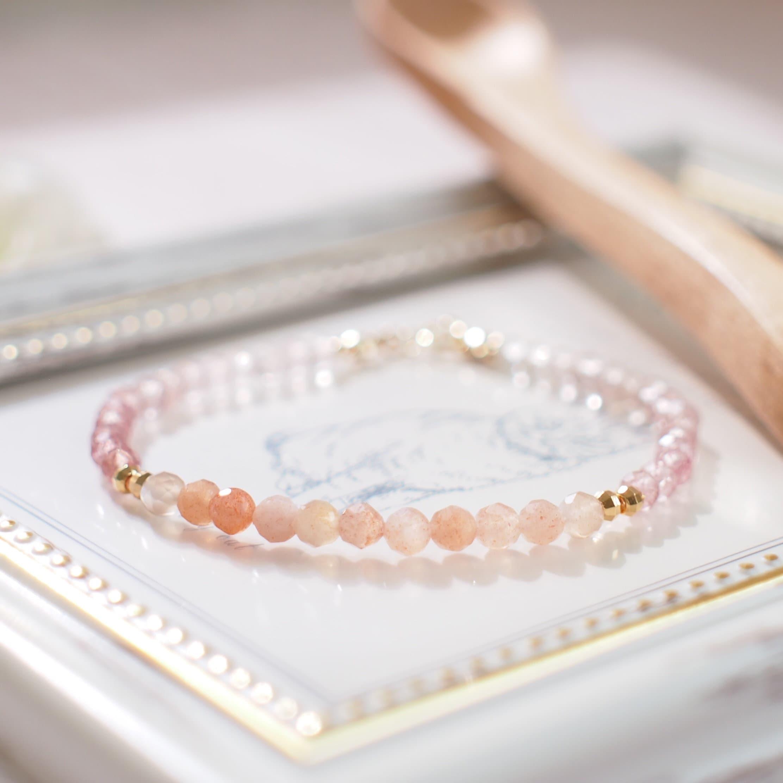 Sunstones x Pearls Bracelet  14K Gold-filled  Stackable  Feminine /& Sweet
