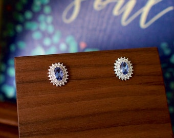 Tazanite Earrings // Halo Setting // Cubic Zirconia // 18K White Gold Plated Over Silver