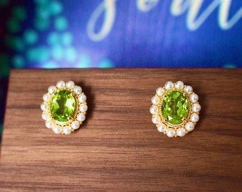 Peridot Earrings // Halo Setting // Fresh Water Pearls // 18K Yellow Gold Plated Over Silver