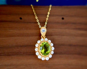 Peridot Pendant // Fresh Water Pearl // Halo Setting // 18K Yellow Gold Plated Over Silver // With Chain