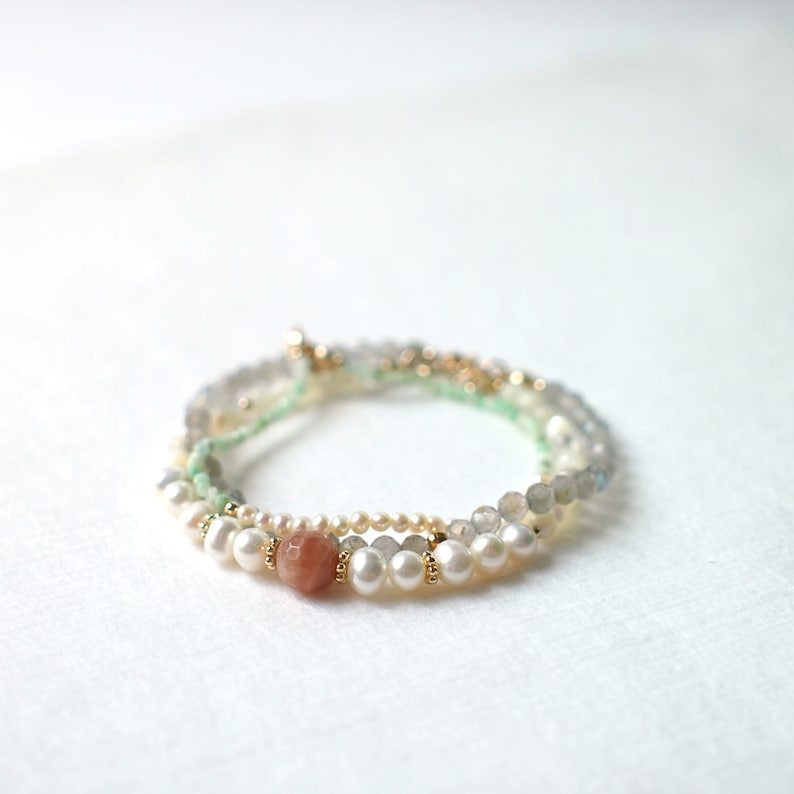 Pearl x Amazonite Bracelet  Skinny and Delicate  Stackable 14K Gold-filled