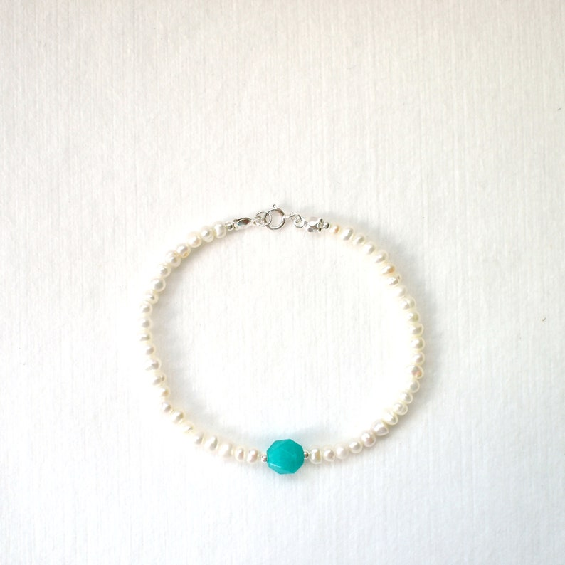 Pearl Bracelet  Amazonite Charm  925 Sterling Silver  Stackable  Chic /& Dainty