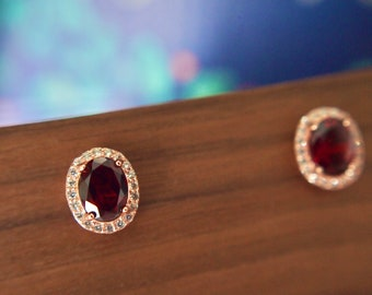 Garnet Earrings // Halo Setting // Cubic Zirconia // 18K Rose Gold Plated Over Silver