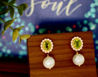 Peridot Earrings // Halo Setting // Detachable Pearl Dangles // Fresh Water Pearls // 18K Yellow Gold Plated Over Silver