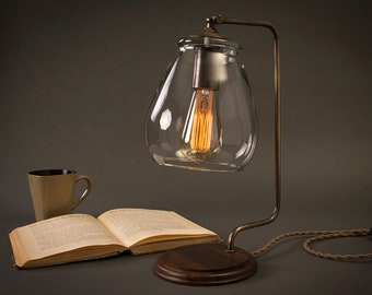 Aged Brass Edison Bulb Table Lamp | Glass Shade | Desk Lamp | Edison Light Bulb | Table Lamp | Bed Light | Night Stand