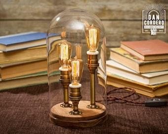 Edison Bell Jar Lamp - Antique Brass