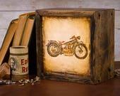 LED Lightbox | Edison Lightbox | Motorcycle | Light Box | Table Lamp | Desk Lamp | LED | Lamp | Harley Davidson