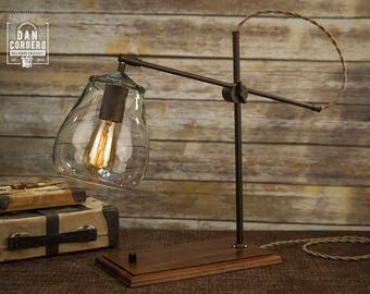 Glass Shade Edison Bulb Table Lamp | Bronze | Desk Lamp | Edison Light Bulb | Table Lamp | Bed Light | Night Stand