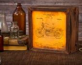 Motorcycle Lamp   Harley Davidson   Edison   Patent   Light Box   Table Lamp   Desk Lamp   LED   Lamp   Motorcycle