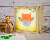 LED Lightbox | Edison Lightbox | Children | Light Box | Table Lamp | Desk Lamp | LED | Lamp | Nursery | Zoo | Owl