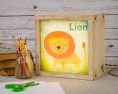 LED Lightbox | Edison Lightbox | Children | Light Box | Table Lamp | Desk Lamp | LED | Lamp | Nursery | Zoo | Lion
