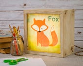 LED Lightbox | Edison Lightbox | Children | Light Box | Table Lamp | Desk Lamp | LED | Lamp | Nursery | Zoo | Fox