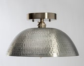 Hammered Semi-Flush Mount Light Fixture - Brushed Nickel