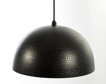 24″ Black Dominion Hammered Dome Pendant Light