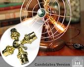 Fan Lamp Kit | DIY Kit | Candelabra | How To | Lamp Parts | Lamp Supplies | Guide | Parts | Tutorial Fan Lamp | Brass | 4 Socket