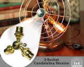 Fan Lamp Kit | DIY Kit | Candelabra | How To | Lamp Parts | Lamp Supplies | Guide | Parts | Tutorial Fan Lamp | Brass | 3 Socket