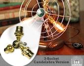 Fan Lamp Kit   DIY Kit   Candelabra   How To   Lamp Parts   Lamp Supplies   Guide   Parts   Tutorial Fan Lamp   Brass   3 Socket