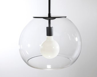 16″ Flat Black Valentina Globe Pendant