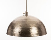 "Oversized 20"" Hammered Metal Brushed Nickel Pendant Light Fixture"