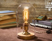 Glass Bell Jar Edison Table Lamp | Desk Lamp | Edison Light | Home Decor | Lighting | Night Light | Edison Bulb | Antique Brass