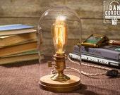 Glass Bell Jar Edison Table Lamp   Desk Lamp   Edison Light   Home Decor   Lighting   Night Light   Edison Bulb   Antique Brass
