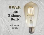 LED Edison Light Bulb | 8 Watt | 60 Watt Equal | Vintage Bulb | Lamp Supplies | LED Filament Bulb | Edison Style