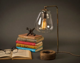 Glass Shade Edison Bulb Table Lamp | Aged Brass | Desk Lamp | Edison Light Bulb | Table Lamp | Bed Light | Night Stand | Halo Lamp