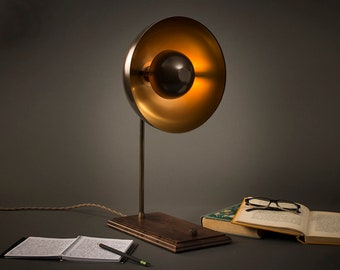 Eclipse Table Lamp | Aged Brass | Desk Lamp | Edison Light Bulb | Table Lamp | Bed Light | Night Stand | Leora Collection