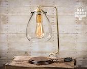 Glass Shade Edison Bulb Table Lamp - Brass