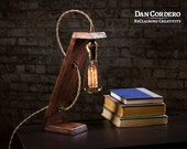 Free Shipping   Wooden Edison Table Lamp   Desk Lamp   Bed Light   Night Light   Lamp   Industrial   Edison Bulb