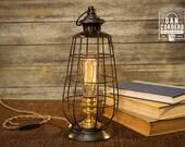 Edison Lantern Table Lamp - Desk Lamp - Night Light - Bed Light - Industrial - Edison Bulb - Lantern - Home Accent - Steampunk - Lamp