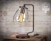 Glass Shade Edison Bulb Table Lamp   Bronze   Desk Lamp   Edison Light Bulb   Table Lamp   Bed Light   Night Stand