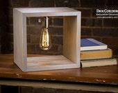 Shadow Box Edison Lamp - Driftwood Stain