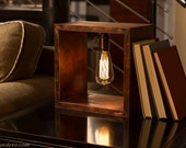 Shadow Box Edison Lamp   Table Lamp   Desk Lamp   Bedside Light   Night Light   Wood   Lamp   Edison Bulb   Industrial