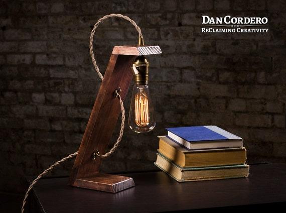 Lampe de table en bois edison lampe de bureau lit lumière etsy