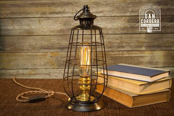 Edison Lantern Table Lamp Desk Lamp Night Light Bed Etsy