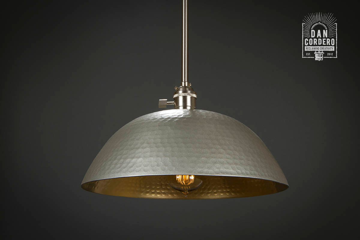 Hammered Shade Gold & Brushed Nickel L Pendant Light