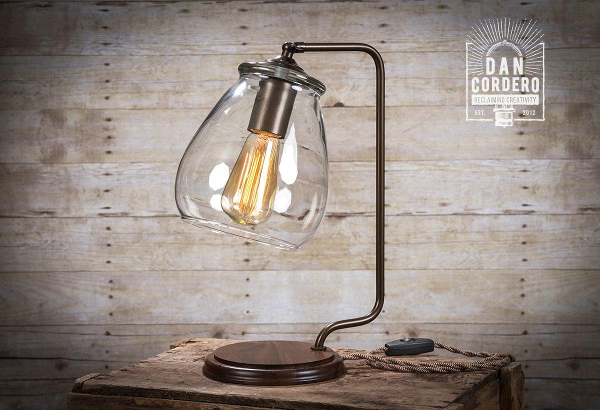 Glass Shade Edison Bulb Table Lamp Bronze Desk Lamp Etsy