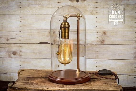Glass Bell Jar Lamp Table Lamp Desk Lamp Glass Dome Etsy