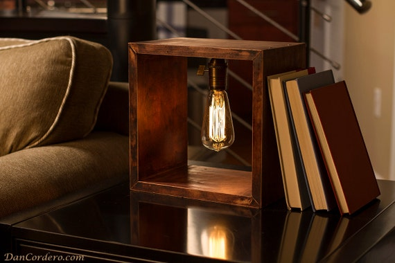 Shadow Box Edison Lamp Table Lamp Desk Lamp Bedside Etsy