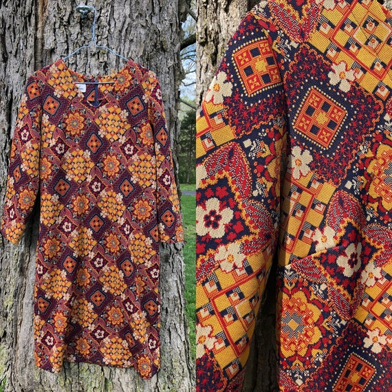 70s psychedelic floral geometric print dress