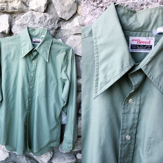70s sage green dagger collar men's shirt