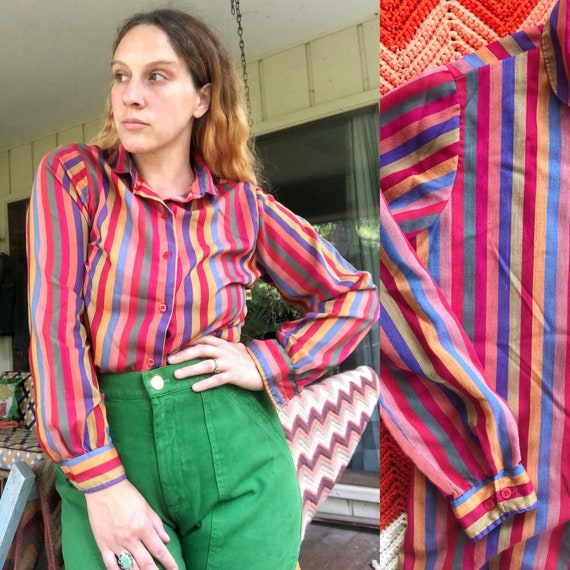 1980s rainbow stripe blouse