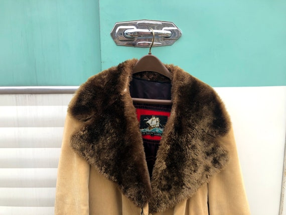 1970s tan corduroy coat with faux fur oversized co